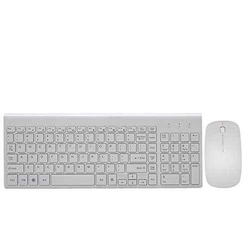 Wireless Keyboard and Mouse Combo, Hi-azul Full-sized 2.4GHz Wireless Keyboard with 102 Keys and Power-saving Mouse for Home and Office Use (White) by HAIBING