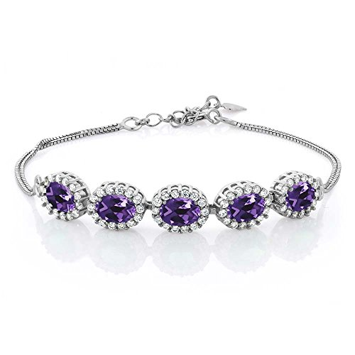 Gem Stone King 4.79 Ct Oval Purple Amethyst 925 Sterling Silver Bracelet 7inches + 1.5inches Extender ()