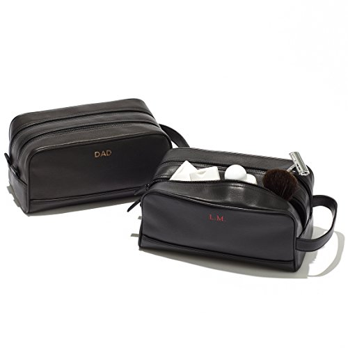 Leatherology Double Zip Toiletry Bag - Full Grain Leather - Navy (blue) by Leatherology (Image #2)