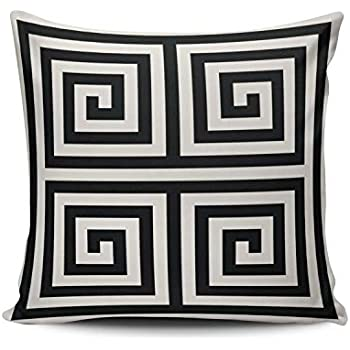 XIAFA Chic Black and White Greek Key Geometric Patterns Home Decoration Pillowcase 26X26 inch European Stylish Design Throw Pillow Case Cushion Cover Double Sided Printed (Set of 1)