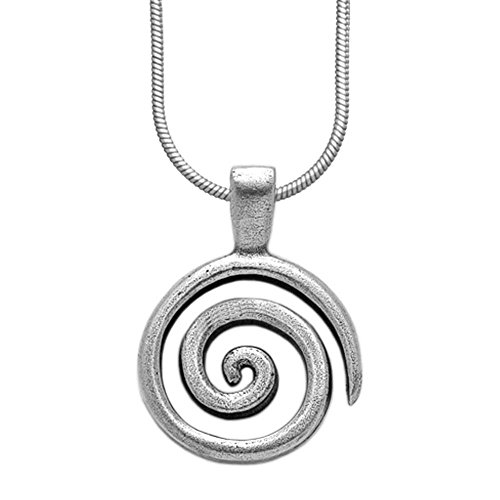 Sterling Silver Spiral Pendant - Danforth - Spiral Necklace - Pewter - 18 Inch Sterling Silver Snake Chain - Made in USA