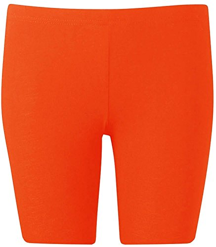 New Womens Plus Size Over Knee Plain Jersey Cycling Shorts ( Orange, 1X )
