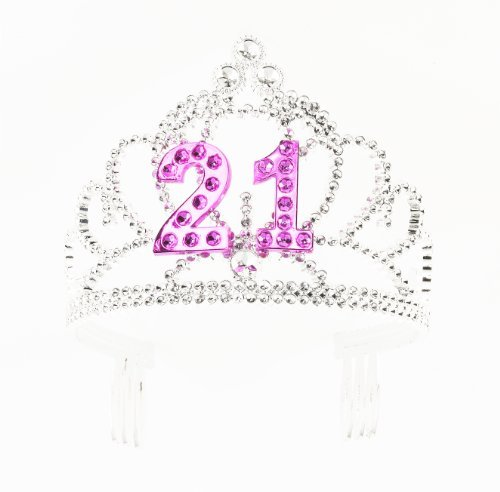 21st Birthday (Forum Novelties Happy Birthday 21st Silver Pink Tiara)