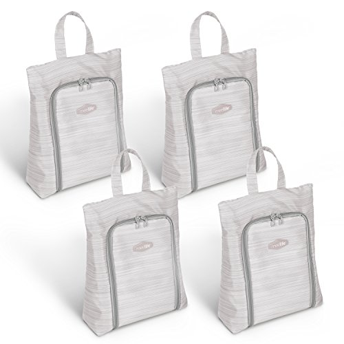 Price comparison product image Meelife Travel Shoe Bags 4Pc Waterproof Polyester Fabric with Zipper Handle Light Gray