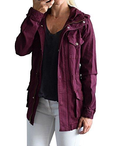 YOMISOY Womens Military Anorak Jackets Safari Lightweight Hoodies Zip Up Twill Versatile Canvas Coat with Pockets Burgundy