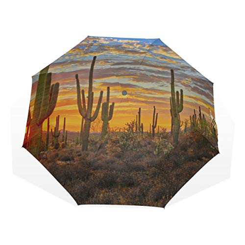 Travel Umbrella Sturdy Beautiful Desert In The Sunset 3 Fold Art Umbrellas(outside Printing) Sun Folding Umbrella Beautiful Rain Umbrella Travel Umbrellas For Men