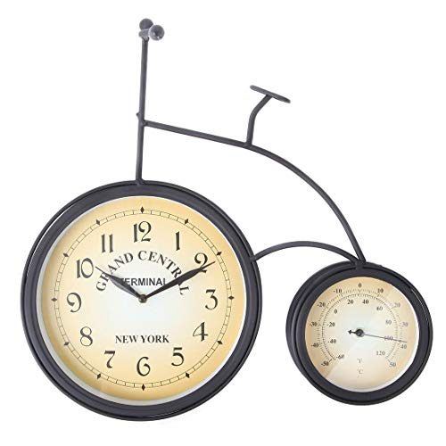 Lily's Home Vintage Inspired Retro Penny Farthing High Wheel Bicycle Outdoor Hanging Garden Wall Clock Thermometer 2 in 1 Combo, Black Wrought Iron (And Decorative Thermometer Clock Set Outdoor)