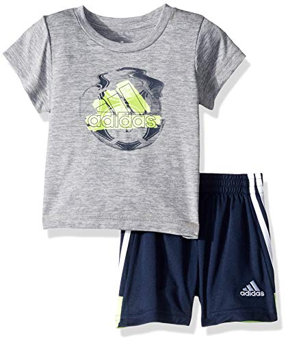 adidas Baby Boys Sleeve Tee and Short Set, KRFT Gry Heather, 24 Months