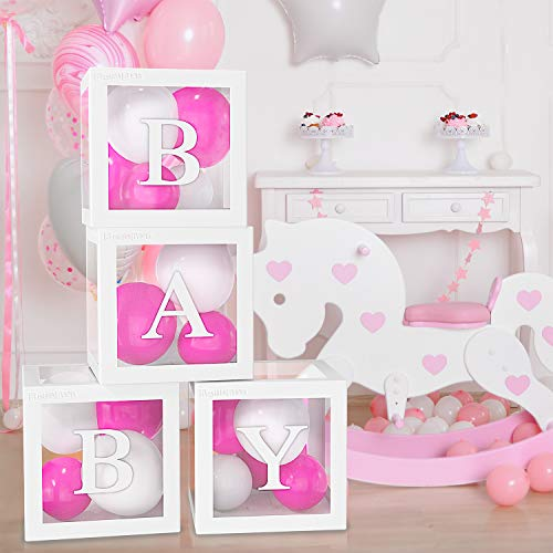4PCS Balloon Box for Baby Shower Decorations For Boy, Girl And Neutral. Gender Reveal Balloon Decorative Blocks With Letters BABY. Set Include 4pcs White Transparent Balloon Box For 1st Birthday Party Decor.