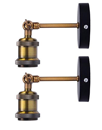 Splink Wandlampe Wandleuchte Industrie mit Einstellbar Messing-Kopf, Vintage Retro Café Loft Bar Flurlampe(Ohne Lampe), Set 2 Stück