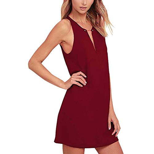 - Snowlike Women Summer Solid Color Casual Sleeveless V-Neck Straight Dress Red