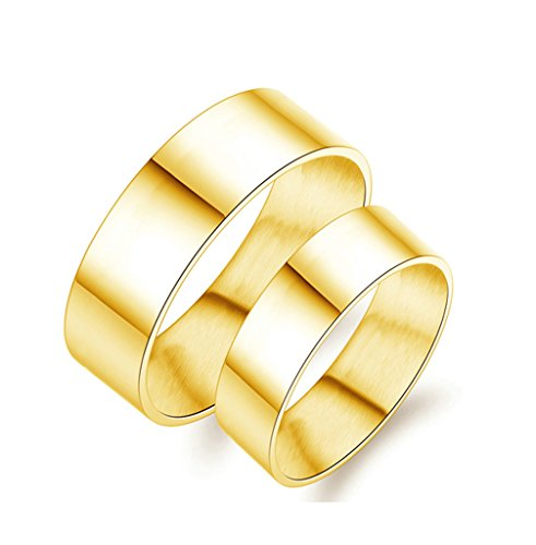 Bishilin 2Pcs Stainless Steel Wedding Ring Sets Men and Women Gold Plated High Polished 8MM | 6MM Coupel Rings Women Size 6 & Men Size 8