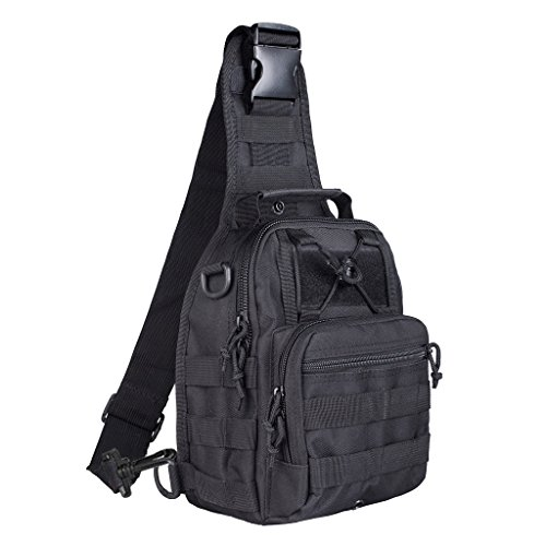 Apparel Backpacks Bags - Qcute Oxford Fabric Multifunctional Unisex Chest Shoulder Satchel Bag,Tactical Sling Pack/Camping Shoulder Pack,Fit for iPod, iPad,iPhone 6 6Plus,MP3,S6 Android Smart Phone (Black)