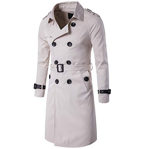 Men's Double Breasted Trenchcoat Stylish Slim Fit Mid Long Belted Windbreaker (Large, Off-White)