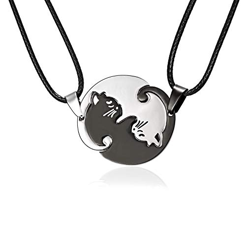 Pair Cat Couple Necklace Stainless Steel Ying Yang Friendship Cute Pet Cat Pendant for Lover Friend Family (Silver)