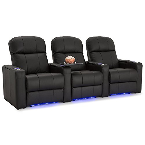 Seatcraft Venetian Home Theater Seating Manual Recline Bonded Leather with Hidden In-Arm Storage, Swivel Tray Tables, USB Charging, Lighted Cup Holders and Base, Row of 3, Black ()