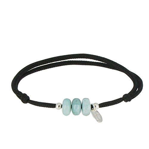 Les Poulettes Jewels - Bracelet Link 3 Blue Dominican Larimar Beads and Silver Beads by Les Poulettes Jewels