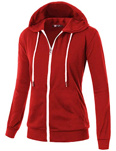 GIVON Womens Comfortable Long Sleeve Lightweight Zip-up Hoodie with Kanga Pocket/DCF200-RED-2XL