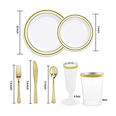 Plastic Dinnerware Set – TrueLook Tableware! 24 Disposable Plates, Cups, Flutes, Napkins, Napkin Rings and Silverware - White and Gold Plastic Plates for Parties, Wedding, Fancy Dinner Occasions
