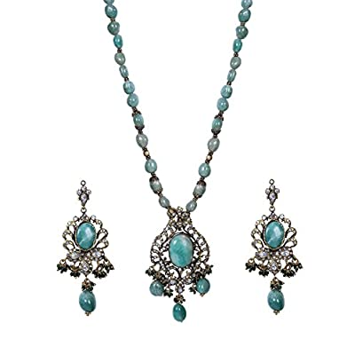 Hot Green Oxidized Dull Gold Stones Crystal Beads Pendant Necklace Set WNS1037