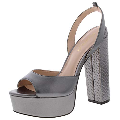 Zoe by Rachel Zoe Womens Claire Platform Sandals Silver 9.5 Medium (B,M)