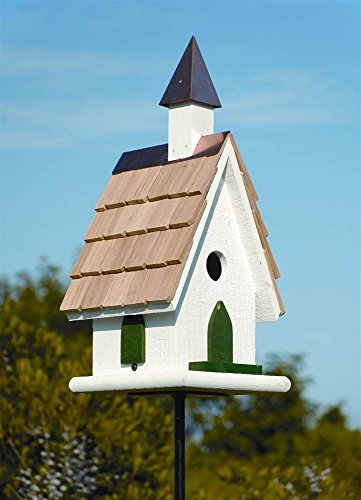 Country Church Bird House in White Copper Steeple - Country Church Birdhouse