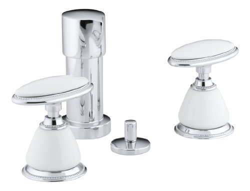 Kohler 142-9B-CP vertical spray bidet faucet, requires ceramic handle insets and skirts