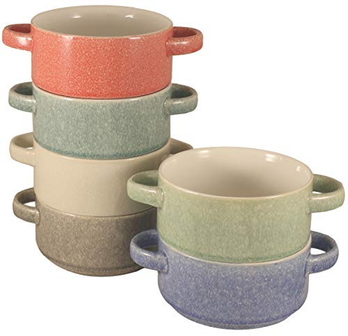 Stoneware Stackable Double Handle Soup and Salad Bowls with Pan Scraper, 5.5 Inch 26 Ounce, Set of 6, Multi Crackled Colors