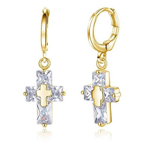 rconia CZ Inlaid Gothic Celtic Cross Leverback Drop Earrings for Women, Golden (Celtic Cross Drop Earrings)