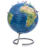 Bullseye Office Topographic Magnetic Globe - NEW Lacquer Finish - Standing World Globe with Magnetic Pins - Perfect as Office Desk Globe, Geography Classroom Globe, or Travelers Globe [Kids or Adults]