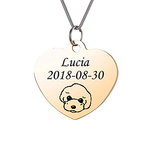 - Valyria Gold Stainless Steel Custom Pet ID Tags Engraved Head Portrait Personalized Heart Pendant Necklace/Keychain