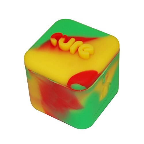 1 Rasta Red Yellow and Green Non-stick Shatter Concentrate Silicone Cure Cubes Jar Container