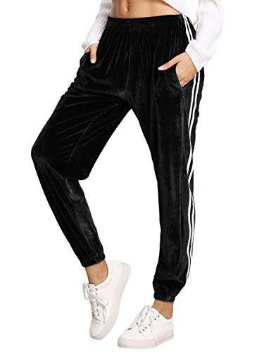 SweatyRocks Women's Jogger Pants Tape Side Velvet Drawstring Sweatpants with Pockets Black M