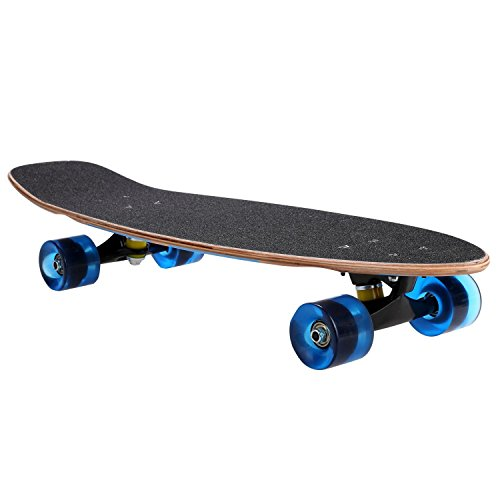 27inch Cruiser Skateboard, Wooden Deck Style Complete Longboard, Outdoor Fun Stitching Color Skate Board with Smooth PU Wheels for Adults, Teens, Kids (Blue)