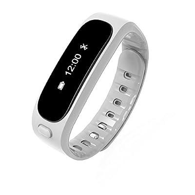 Aottom Fitness Activity Tracker Bluetooth 4.0 Smartband Sport Bracelet Pedometer Wristband For IOS Samsung Android(White)