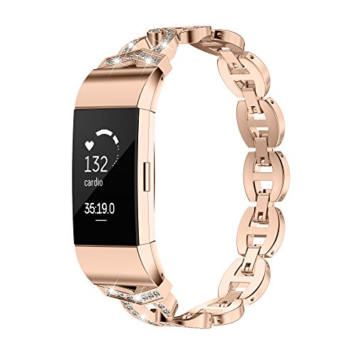 TOYOUTHS Compatible with Fitbit Charge 2 Bands for Women Rose Gold Bling Rhinestone Replacement Bracelet Strap Diamond Accessories Wrist Band XL, Rose - Bands Gold Diamond Fashion