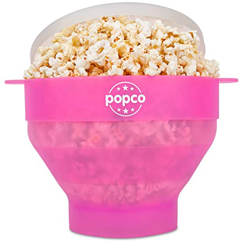 The Original Popco Silicone Microwave Popcorn Popper with Handles, Silicone Popcorn Maker, Collapsible Bowl Bpa Free and Dishwasher Safe - 10 Colors Available (Transparent Pink) (Pink Popcorn Machine)