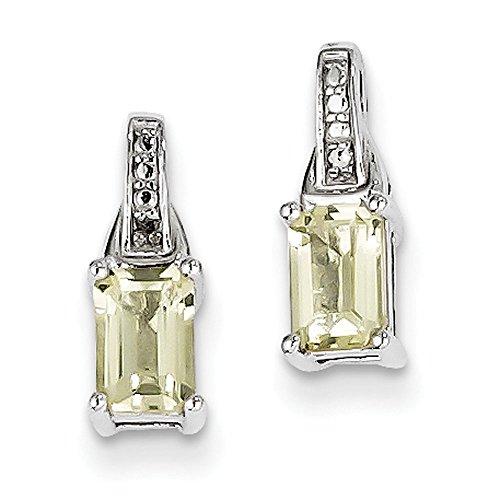 925 Sterling Silver Rhodium-plated Diamond & Lemon Quartz Earrings
