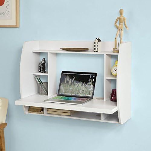 Haotian FWT18-W,Drop-Leaf Table Desk, Wood Children Table,Home Office Table Desk Workstation Computer Desk with Storage Shelves, Trestle Desk