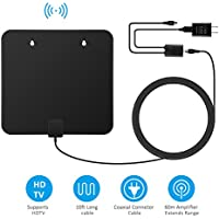 TV Antenna,EFIND (2017 Upgraded) HDTV indoor Antenna 60 Miles Range with Amplifier Channels Booster for 1080P High 360 Degree Reception,USB Power Supply and 10FT High Performance Coaxial Cable