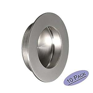 Embellecedor redondo para puerta corredera con tornillos ocultos, 50 mm x 65 mm, acero inoxidable satinado, de Goldenwarm