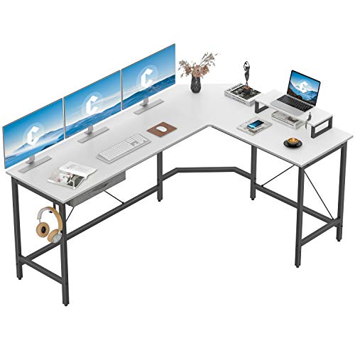 CubiCubi L Shaped Desk Computer Corner Desk, Home Office Gaming Table, Sturdy Writing Workstation with Small Table, Space-Saving, Easy to Assemble, White