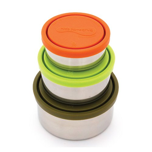 U Konserve - Nesting Trio, Perfect for Lunches or Picnics, Reduce Waste, Dishwasher Safe (Round, (Stainless Steel Snack Containers)