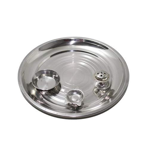 Arts From India Stainless Steel Mirror Finished Pooja Thali with Insence Holder Diya and Aarti Joyt Inbuiled
