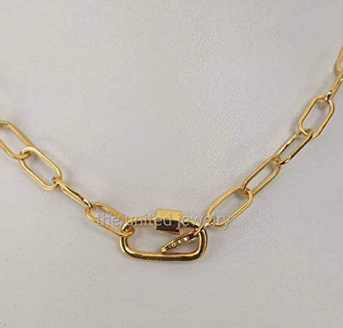 14k Gold Amethyst Gemstone Carabiner Lock Necklace Silver Handmade Jewelry