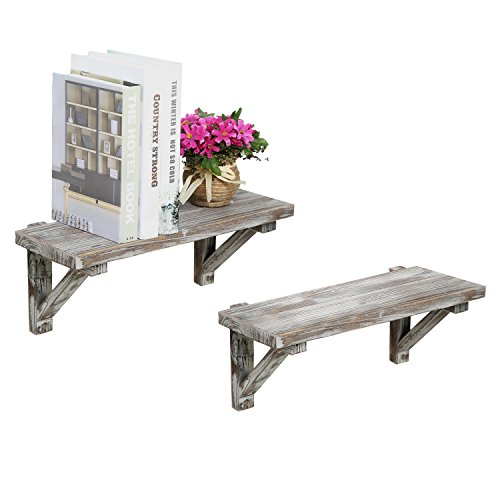 Rustic Torched Wood Wall-Mounted Storage Display Shelves with Wooden Brackets, Set of 2 - Country Medium Wall Bracket