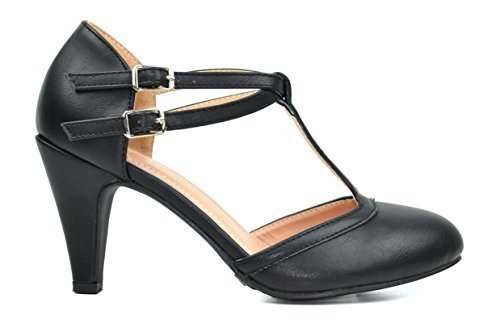 Chase & Chloe Kimmy-58 Women's Double Buckle T-Strap Retro Pump (7 B(M) US, Black)