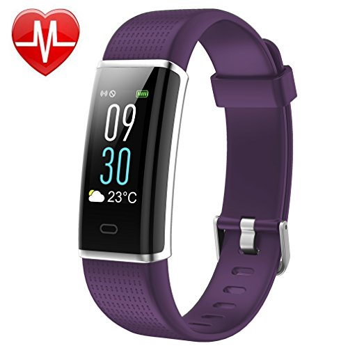 Fitness Tracker Color Screen Waterproof Activity Tracker Heart Rate Monitor Pedometer Calories Counter Silent Vibration Alarm GPS Sleep Monitor Weather Bluetooth Smart Band for Android IOS (Purple)