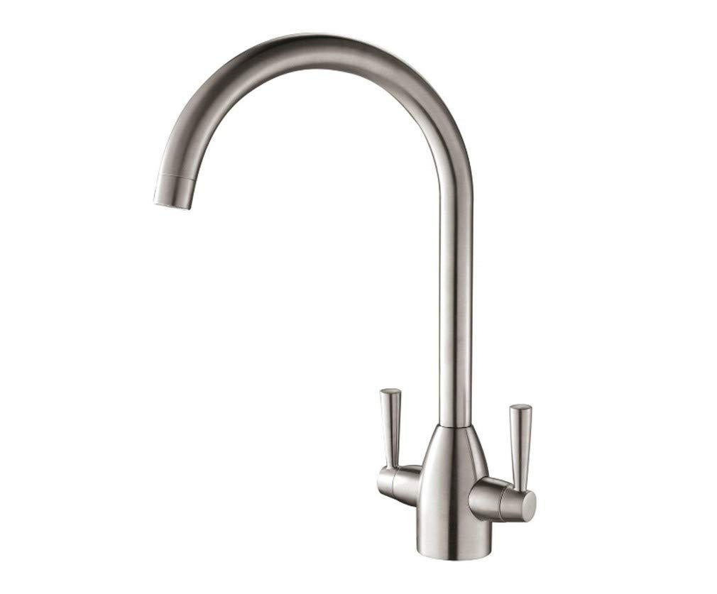 Edelstahl Einhand Wasserhähne Küche Küchenarmatur 2-Griff-Schwenkauslauf Für Mischbatterie, Nickel Gebürstet