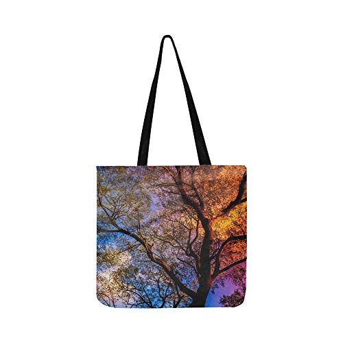 Tree Sunbeam Rays Sunset Tree Trunk Tree Top Sun Canvas Tote Handbag Shoulder Bag Crossbody Bags Purses For Men And Women Shopping Tote (Saint Laurent Monogram Leather Cross Body Bag)